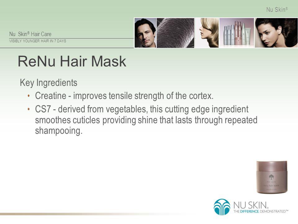 Nu Skin ® Hair Care VISIBLY YOUNGER HAIR IN 7 DAYS Nu Skin ® ReNu Hair Mask Key Ingredients Creatine - improves tensile strength of the cortex. CS7 -