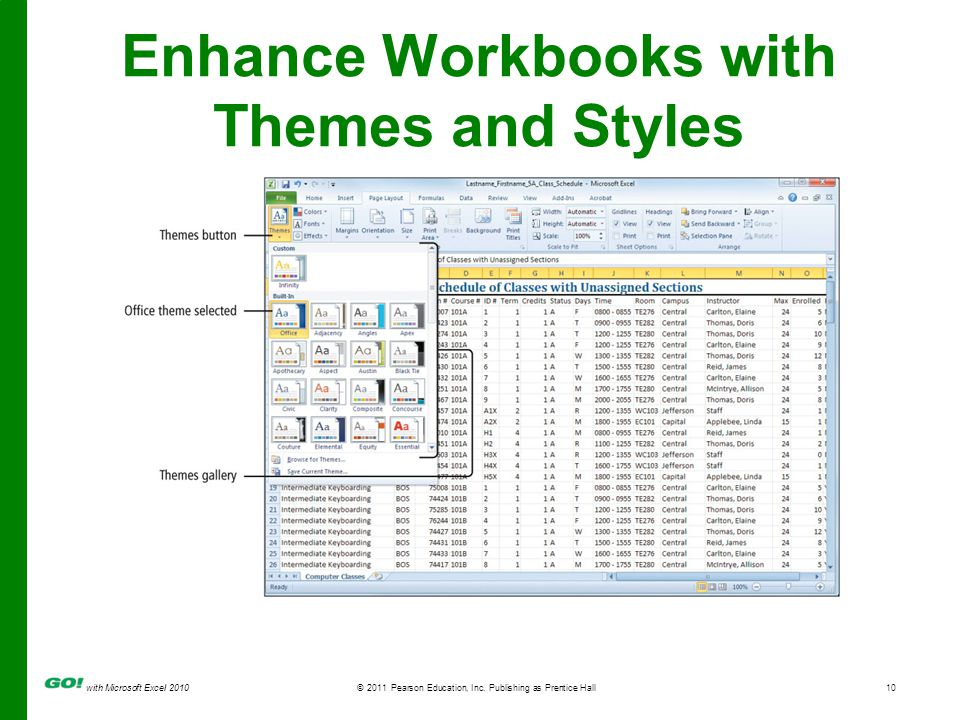 with Microsoft Excel 2010 © 2011 Pearson Education, Inc. Publishing as Prentice Hall10 Enhance Workbooks with Themes and Styles