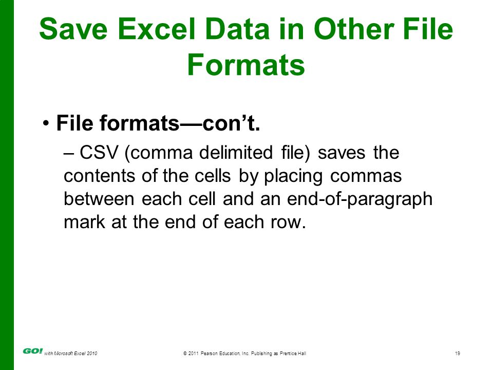 with Microsoft Excel 2010 © 2011 Pearson Education, Inc. Publishing as Prentice Hall19 Save Excel Data in Other File Formats File formatscont. – CSV (