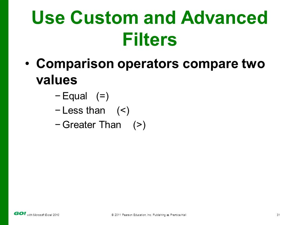 with Microsoft Excel 2010 © 2011 Pearson Education, Inc. Publishing as Prentice Hall31 Comparison operators compare two values Equal (=) Less than (<)