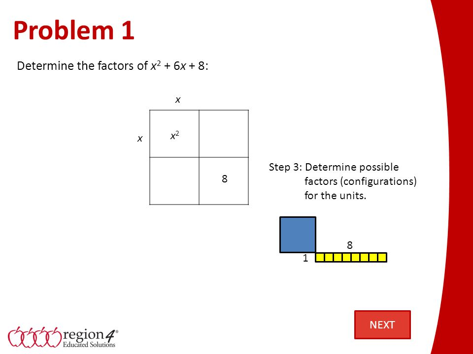Problem 1 x2x2 8 Step 3: Determine possible factors (configurations) for the units.