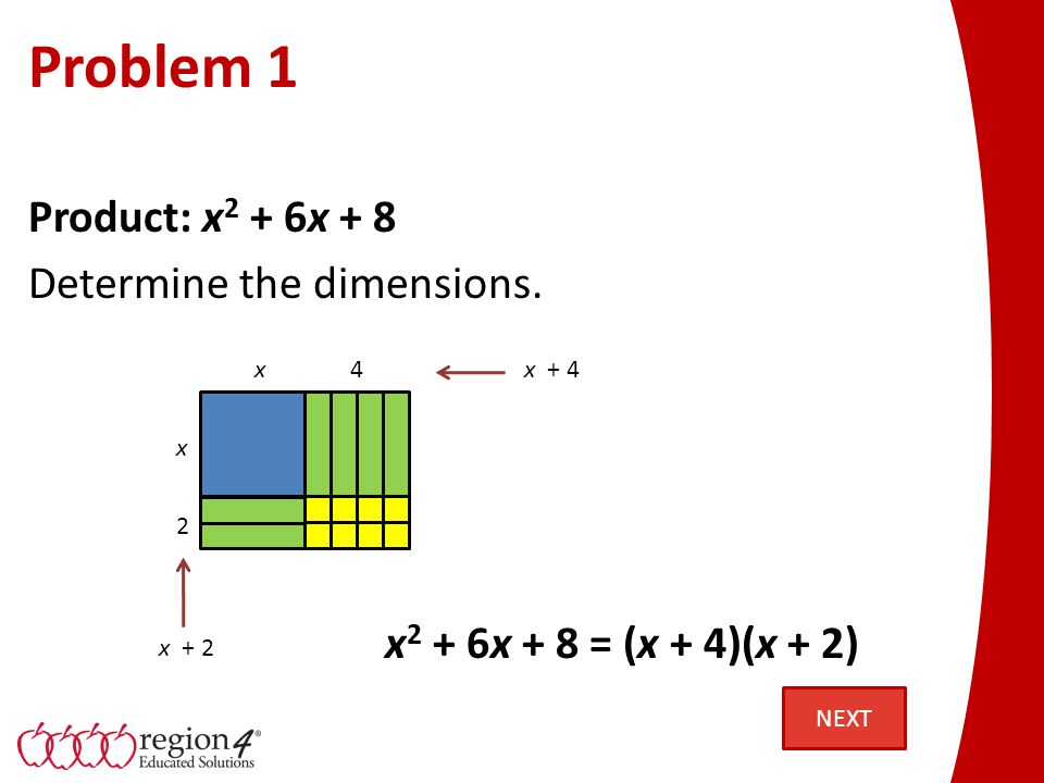 Problem 1 Another perspective: x x 4 2 x2x2 4x4x 2x2x8 Notice the four regions. NEXT