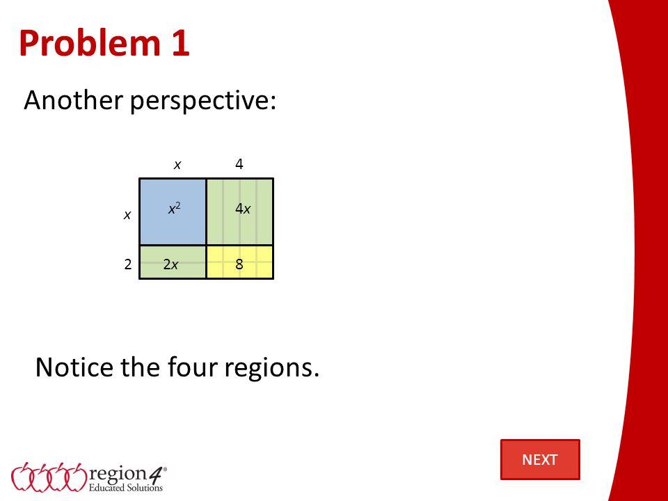 Problem 1 Determine the factors of x 2 + 6x + 8: x2x2 8 x x 2 4 4x4x 2x Use the dimensions to identify the factors.