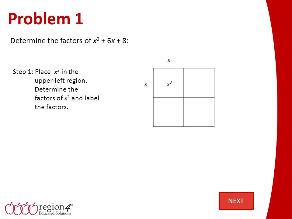 Problem 1 Step 1: Place x 2 in the upper-left region. Determine the factors of x 2 and label the factors. x2x2 x x Determine the factors of x 2 + 6x +
