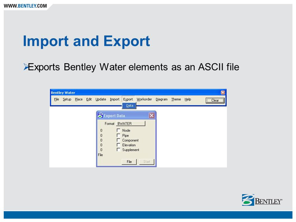 Import and Export Exports Bentley Water elements as an ASCII file