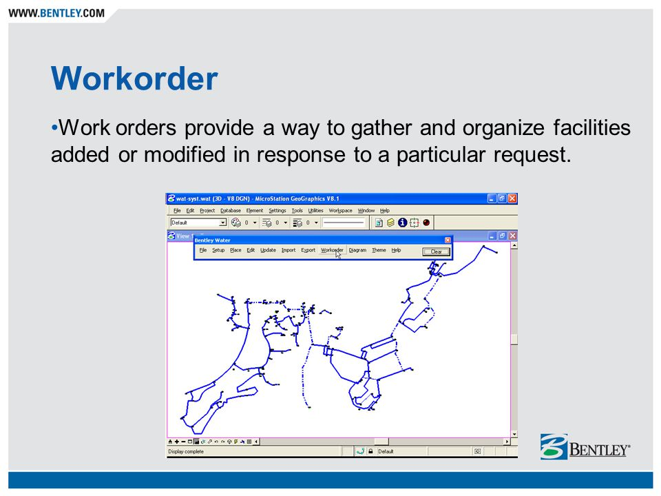 Workorder Work orders provide a way to gather and organize facilities added or modified in response to a particular request.