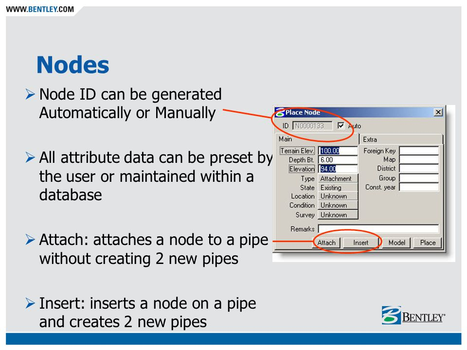 Nodes Node ID can be generated Automatically or Manually All attribute data can be preset by the user or maintained within a database Attach: attaches a node to a pipe without creating 2 new pipes Insert: inserts a node on a pipe and creates 2 new pipes