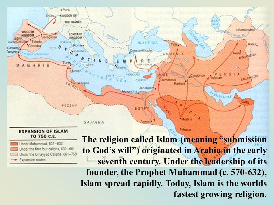 The religion called Islam (meaning submission to Gods will) originated in Arabia in the early seventh century. Under the leadership of its founder, th