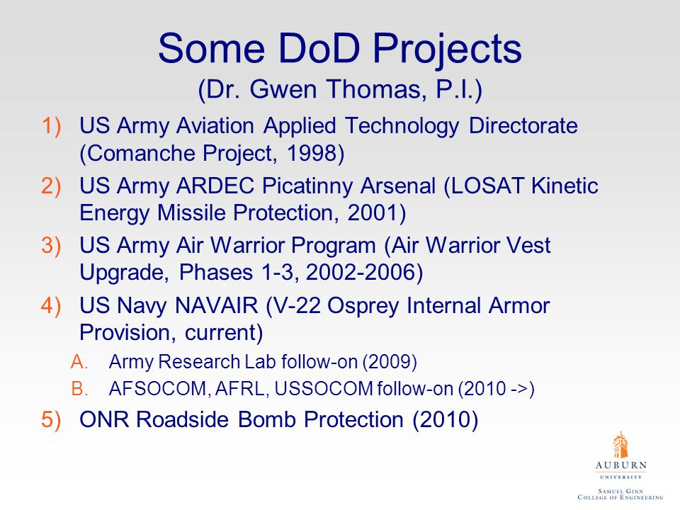 Some DoD Projects (Dr.