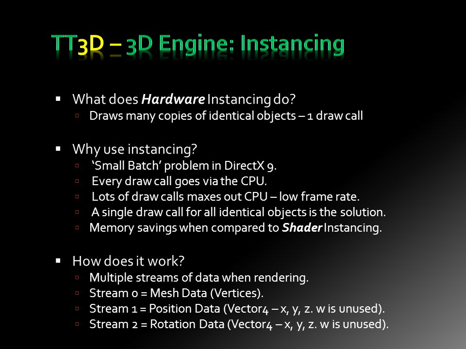 What does Hardware Instancing do.