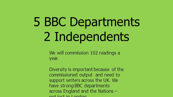 5 BBC Departments 2 Independents We will commission 102 readings a year.