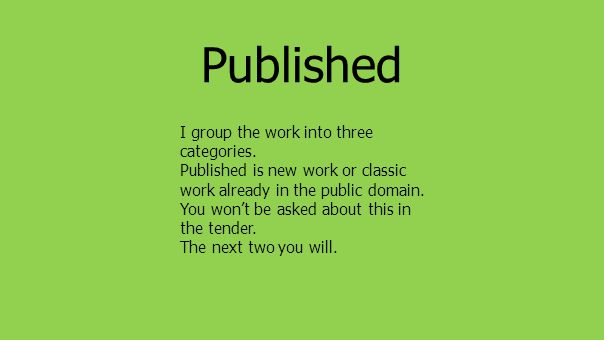 Published I group the work into three categories.