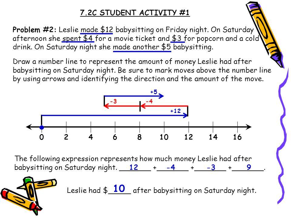7.2C STUDENT ACTIVITY #1 Problem #2: Leslie made $12 babysitting on Friday night.