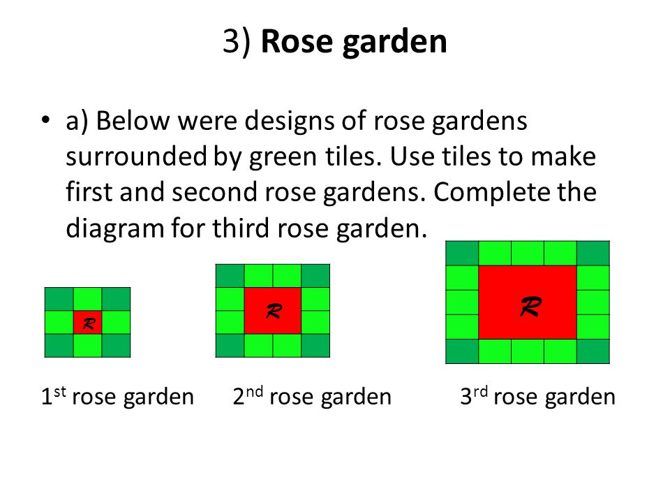 3) Rose garden a) Below were designs of rose gardens surrounded by green tiles. Use tiles to make first and second rose gardens. Complete the diagram