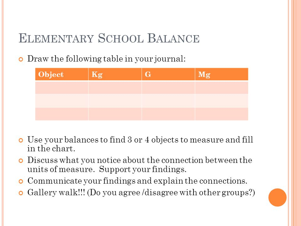 E LEMENTARY S CHOOL B ALANCE Draw the following table in your journal: Use your balances to find 3 or 4 objects to measure and fill in the chart.