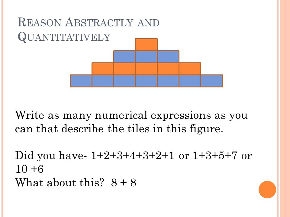 R EASON A BSTRACTLY AND Q UANTITATIVELY Write as many numerical expressions as you can that describe the tiles in this figure.