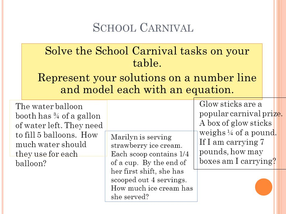 S CHOOL C ARNIVAL Marilyn is serving strawberry ice cream.