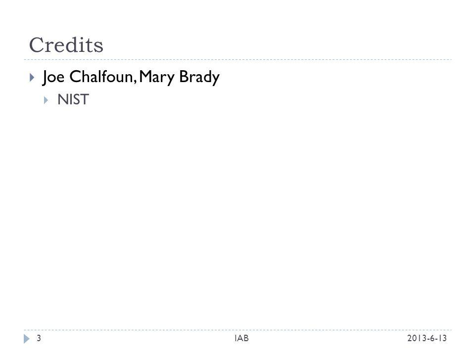 Credits 2013-6-13IAB3 Joe Chalfoun, Mary Brady NIST