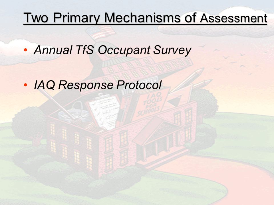 Two Primary Mechanisms of Assessment Annual TfS Occupant Survey IAQ Response Protocol