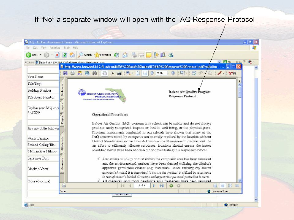 If No a separate window will open with the IAQ Response Protocol