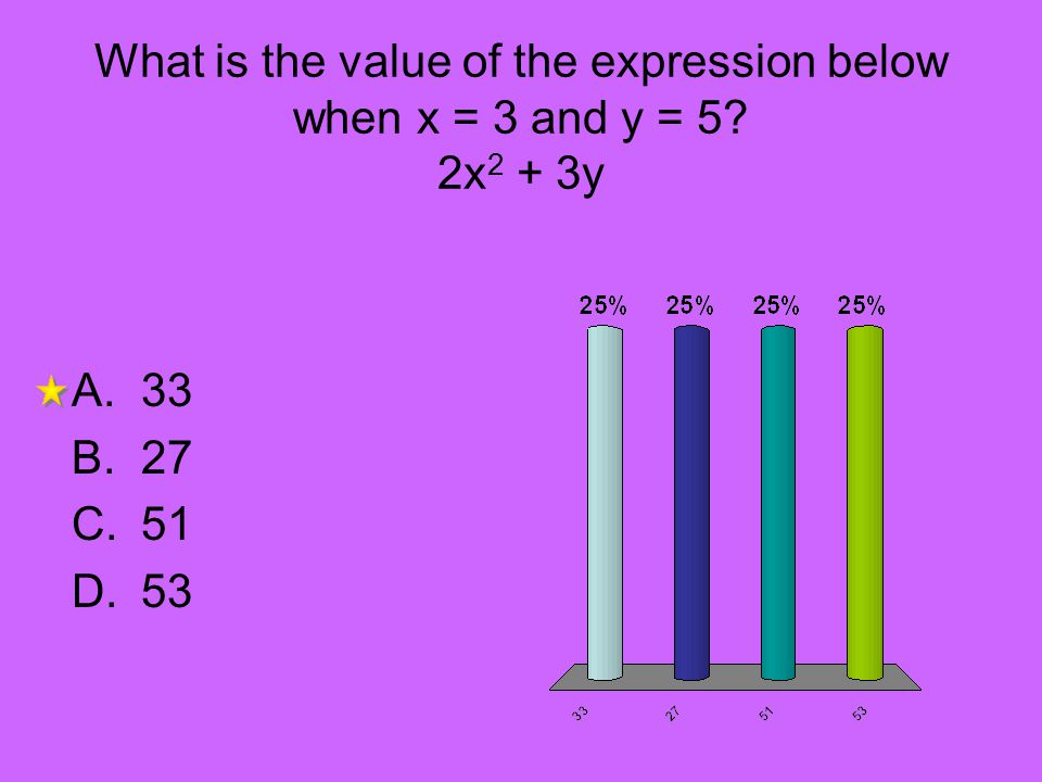 What is the value of the expression below when x = 3 and y = 5? 2x 2 + 3y A.33 B.27 C.51 D.53