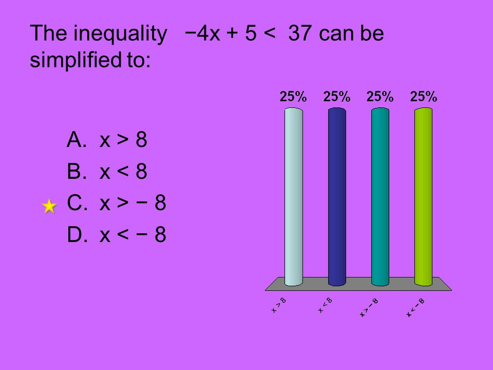 The inequality 4x + 5 < 37 can be simplified to: A.x > 8 B.x < 8 C.x > 8 D.x < 8