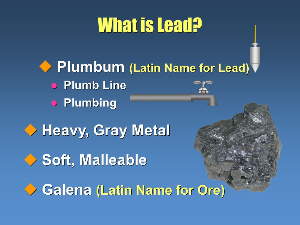 uPlumbum (Latin Name for Lead) What is Lead? uHeavy, Gray Metal uSoft, Malleable uGalena (Latin Name for Ore) uHeavy, Gray Metal uSoft, Malleable uGal