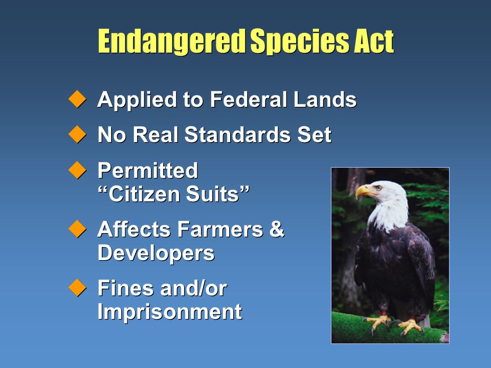 Endangered Species Act uApplied to Federal Lands uNo Real Standards Set uPermitted Citizen Suits uAffects Farmers & Developers uFines and/or Imprisonment uApplied to Federal Lands uNo Real Standards Set uPermitted Citizen Suits uAffects Farmers & Developers uFines and/or Imprisonment