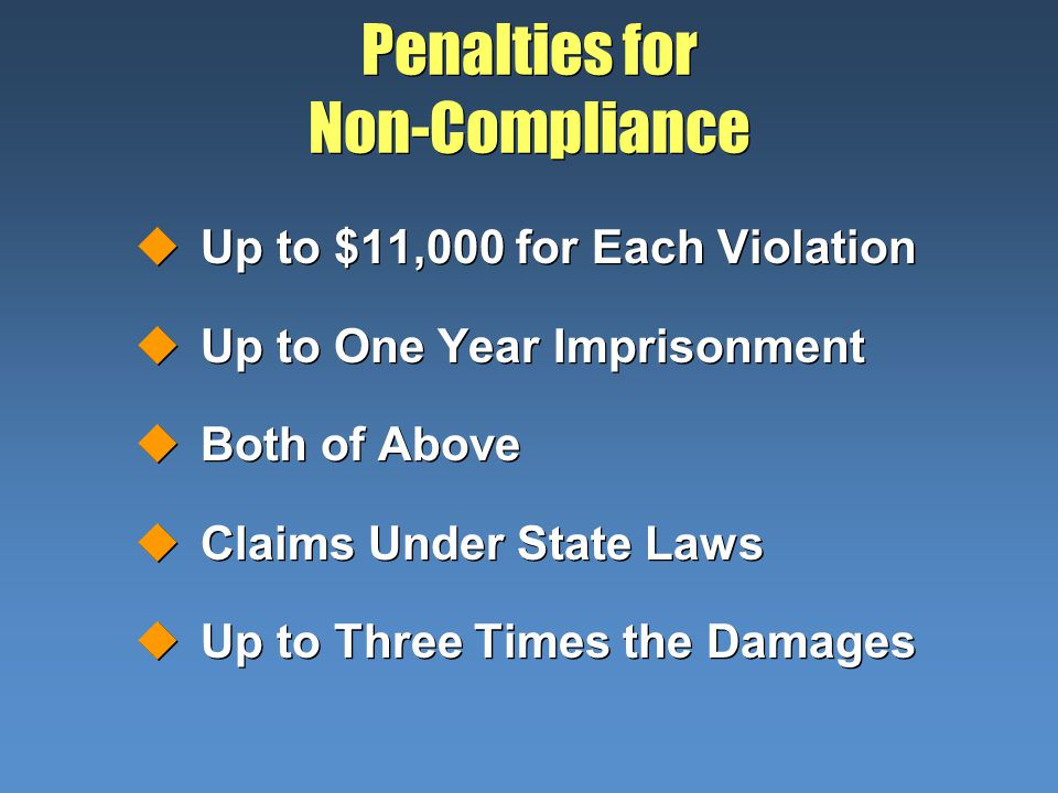 Penalties for Non-Compliance uUp to $11,000 for Each Violation uUp to One Year Imprisonment uBoth of Above uClaims Under State Laws uUp to Three Times