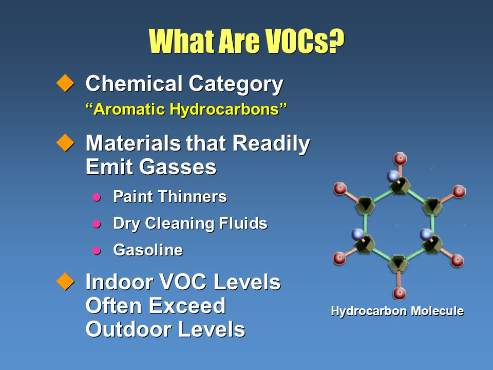 What Are VOCs? uChemical Category Aromatic Hydrocarbons uMaterials that Readily Emit Gasses l Paint Thinners l Dry Cleaning Fluids l Gasoline uIndoor