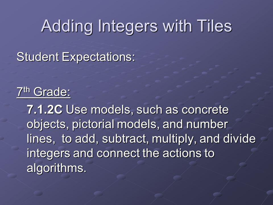 Adding Integers with Tiles Student Expectations: 7 th Grade: 7.1.2C Use models, such as concrete objects, pictorial models, and number lines, to add, subtract, multiply, and divide integers and connect the actions to algorithms.