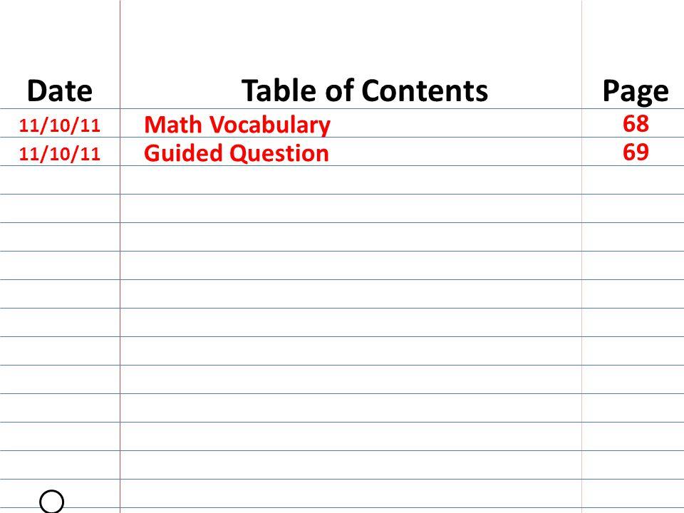 SECOND Math Vocabulary