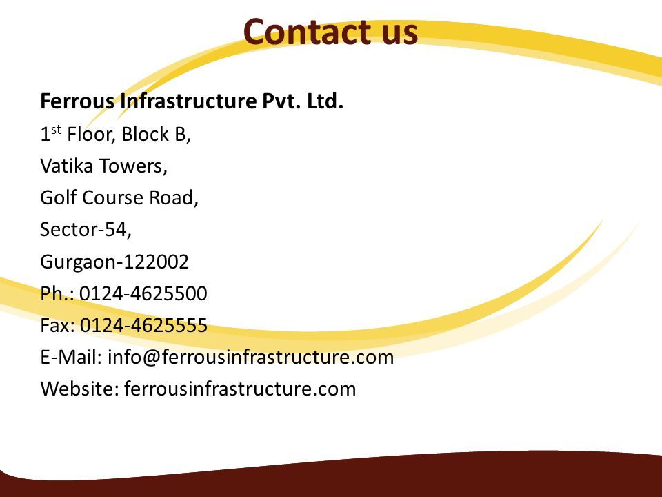 Contact us Ferrous Infrastructure Pvt. Ltd.