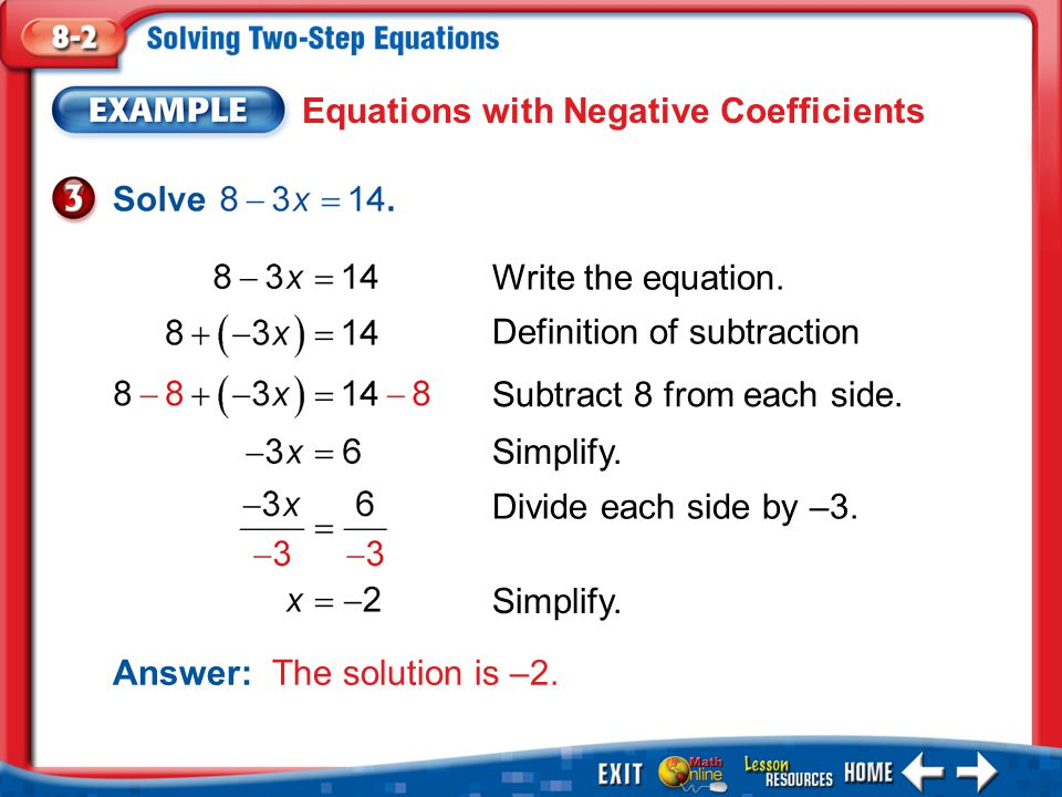 Example 3 Equations with Negative Coefficients Answer: The solution is –2. Write the equation. Definition of subtraction Subtract 8 from each side. Si