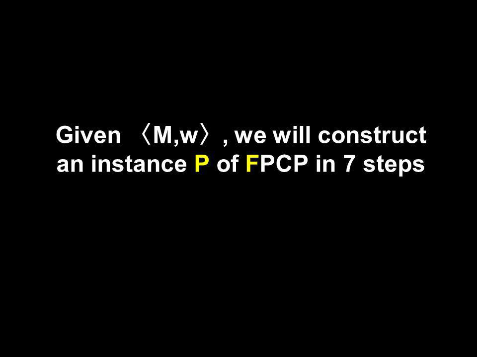 Given M,w, we will construct an instance P of FPCP in 7 steps