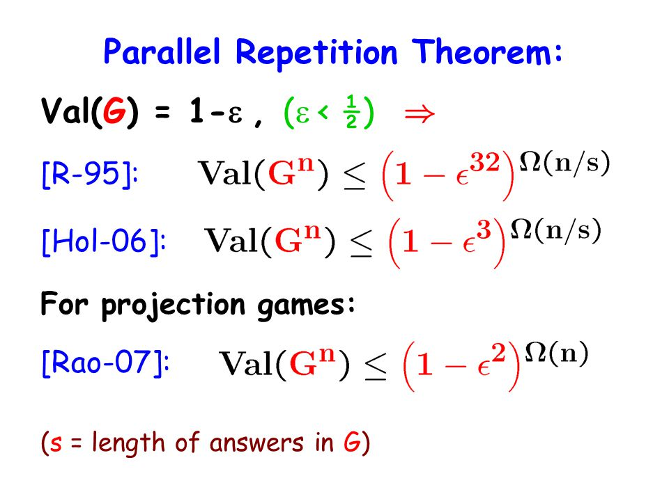 Parallel Repetition Theorem: Val(G) = 1-, ( < ½) ) [R-95]: [Hol-06]: For projection games: [Rao-07]: (s = length of answers in G)