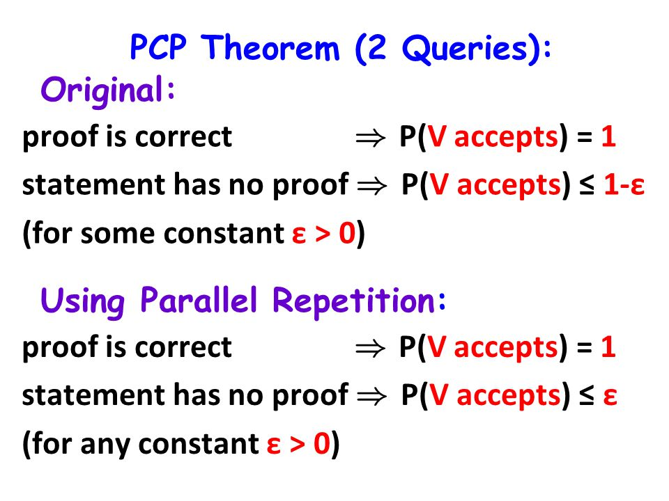 PCP Theorem (2 Queries): Original: Using Parallel Repetition: proof is correct ) P(V accepts) = 1 statement has no proof ) P(V ¼ accepts) 1-ε (for some constant ε > 0) proof is correct ) P(V accepts) = 1 statement has no proof ) P(V ¼ accepts) ε (for any constant ε > 0)