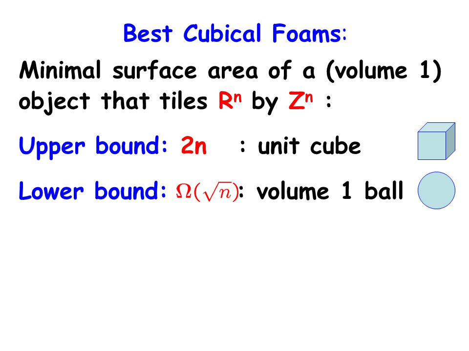 Best Cubical Foams: Minimal surface area of a (volume 1) object that tiles R n by Z n : Upper bound: 2n : unit cube Lower bound: : volume 1 ball