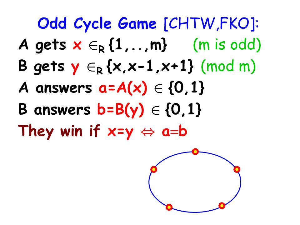 Odd Cycle Game [CHTW,FKO]: A gets x 2 R {1,..,m} (m is odd) B gets y 2 R {x,x-1,x+1} (mod m) A answers a=A(x) 2 {0,1} B answers b=B(y) 2 {0,1} They win if x=y, a b