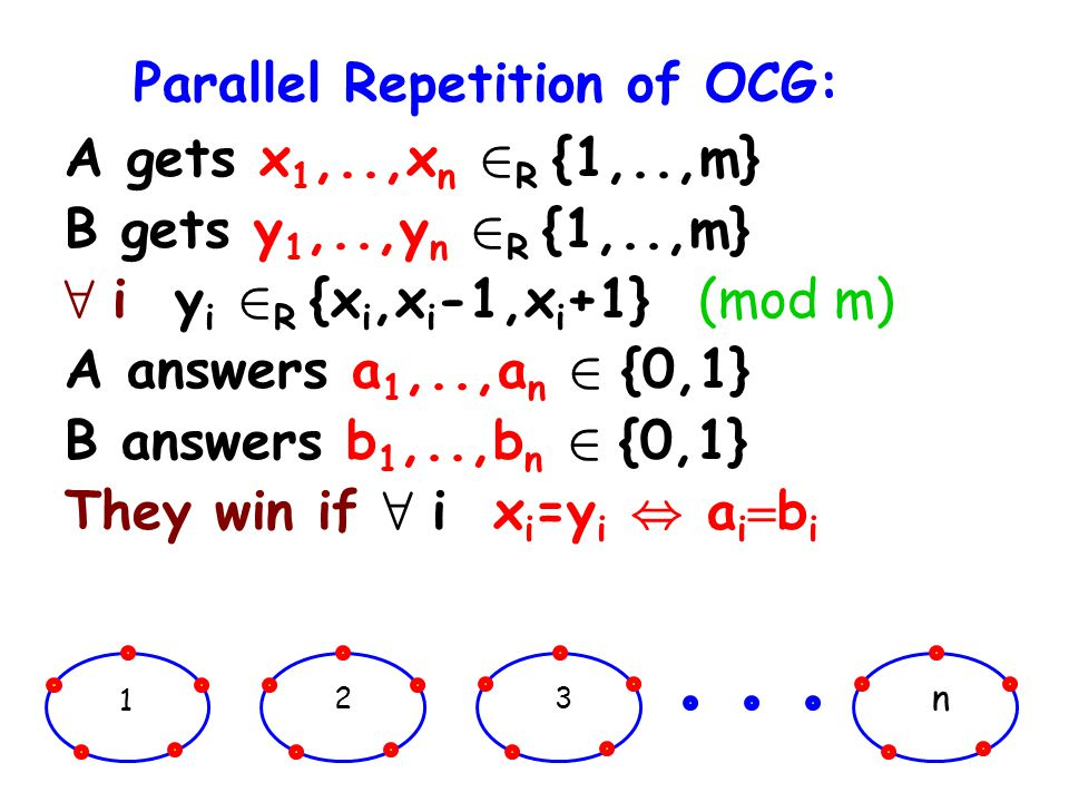 Parallel Repetition of OCG: A gets x 1,..,x n 2 R {1,..,m} B gets y 1,..,y n 2 R {1,..,m} 8 i y i 2 R {x i,x i -1,x i +1} (mod m) A answers a 1,..,a n 2 {0,1} B answers b 1,..,b n 2 {0,1} They win if 8 i x i =y i, a i b i 1 23 n