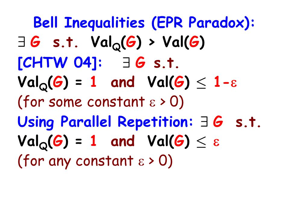 Bell Inequalities (EPR Paradox): 9 G s.t. Val Q (G) > Val(G) [CHTW 04]: 9 G s.t.