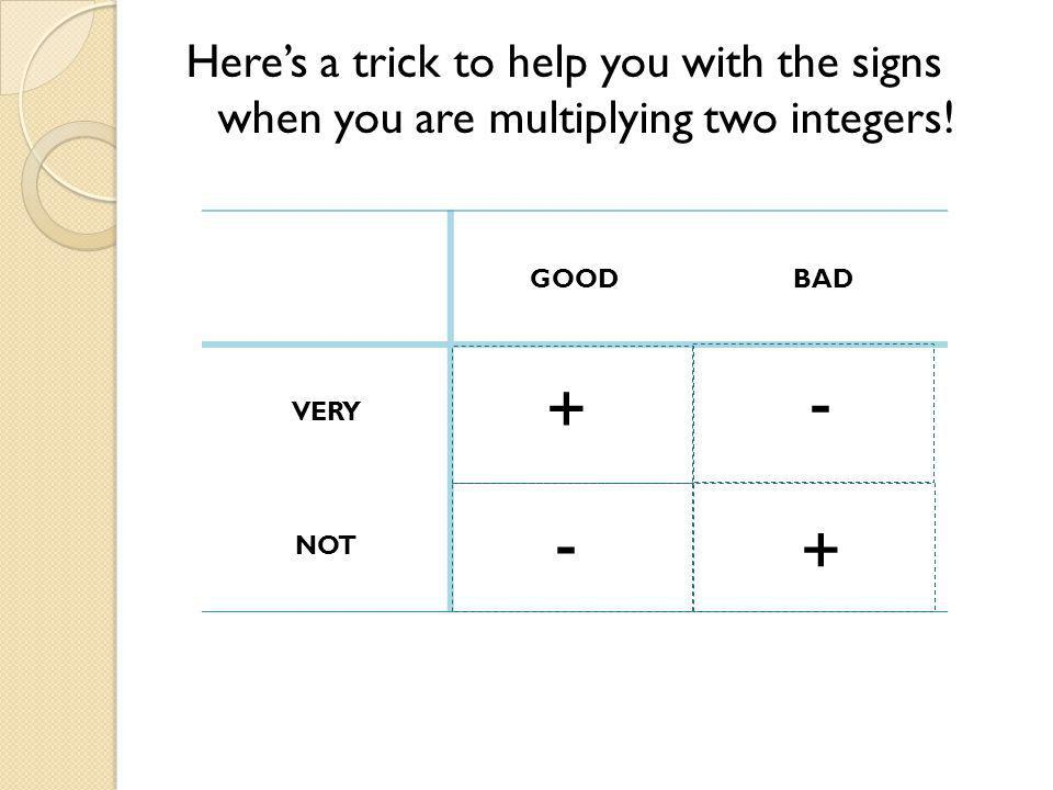GOODBAD VERY NOT Heres a trick to help you with the signs when you are multiplying two integers.