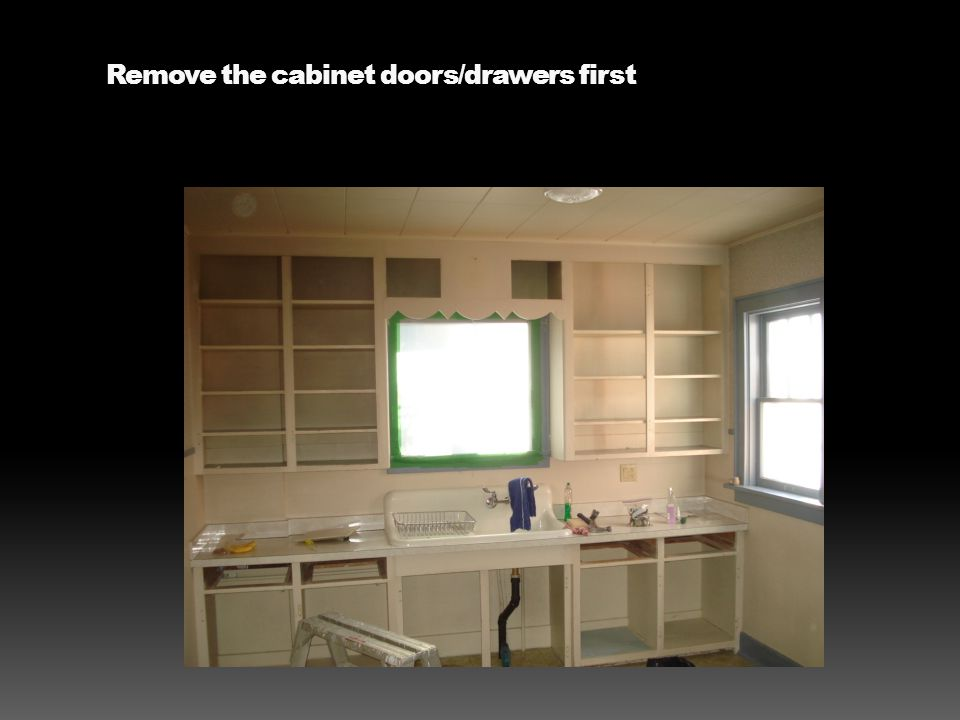 Remove the cabinet doors/drawers first