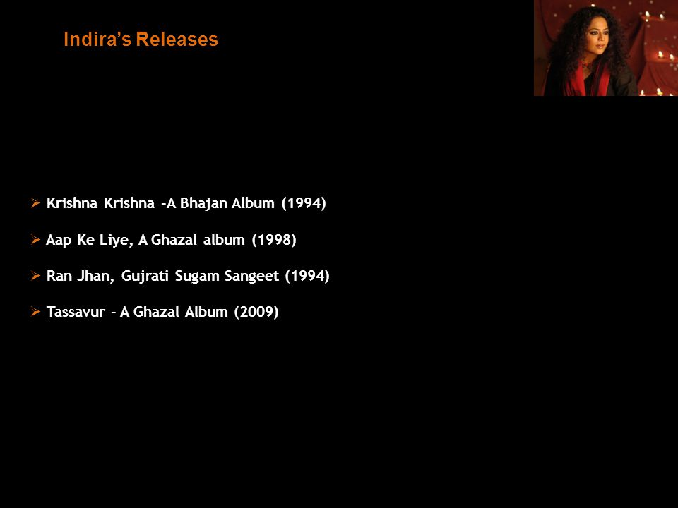 Krishna Krishna -A Bhajan Album (1994) Aap Ke Liye, A Ghazal album (1998) Ran Jhan, Gujrati Sugam Sangeet (1994) Tassavur - A Ghazal Album (2009) Indi