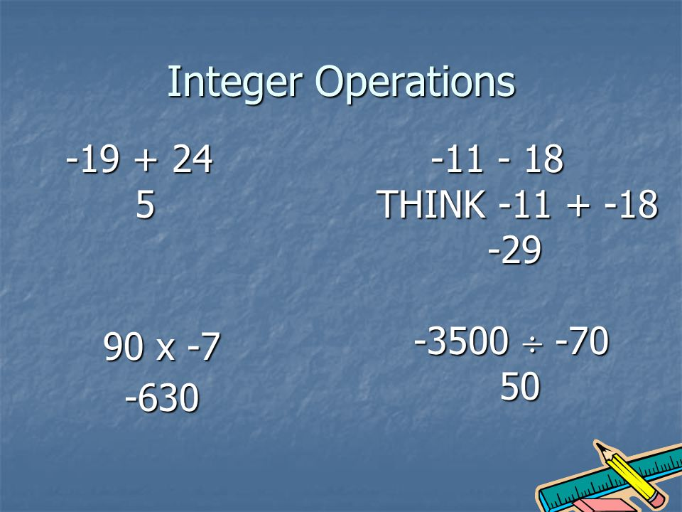 Integer Operations THINK x