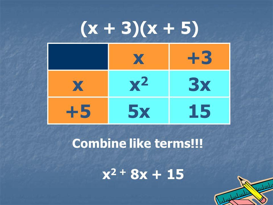 (x + 3)(x + 5) x+3 xx2x2 3x +55x15 Combine like terms!!! x 2 + 8x + 15