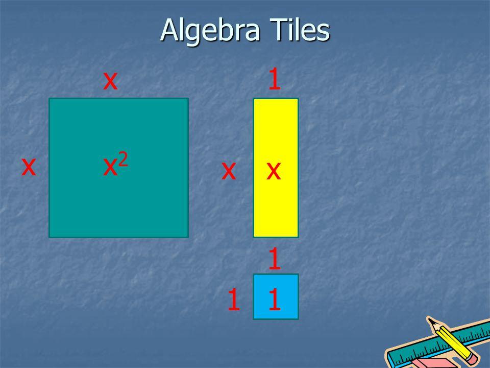 Algebra Tiles x xx2x2 x 1 x 1 11