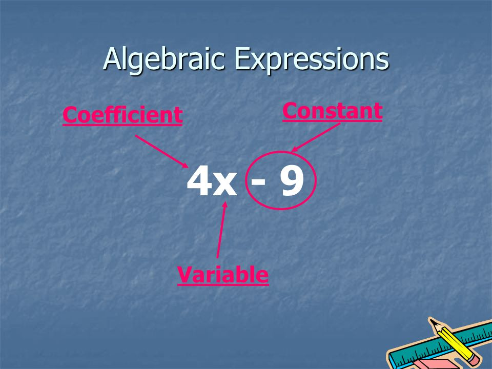 Algebraic Expressions 4x - 9 Variable Constant Coefficient