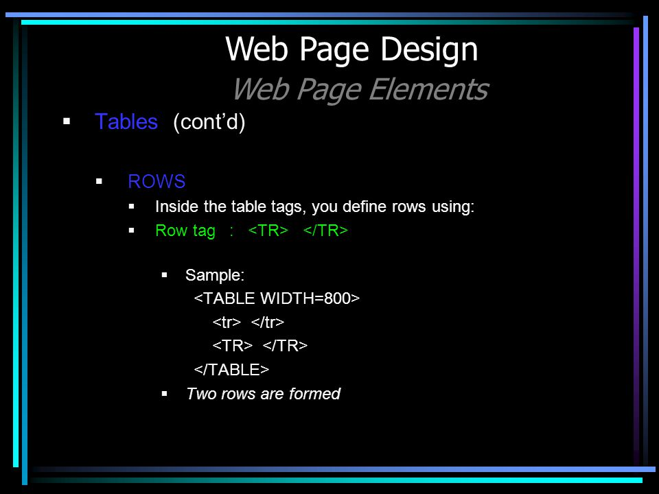 Tables (contd) ROWS Inside the table tags, you define rows using: Row tag : Sample: Two rows are formed Web Page Design Web Page Elements