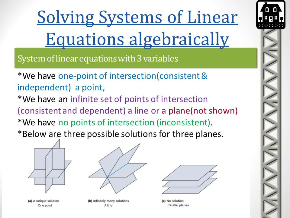 System of linear equations with 3 variables Solving Systems of Linear Equations algebraically *We have one-point of intersection(consistent & independ